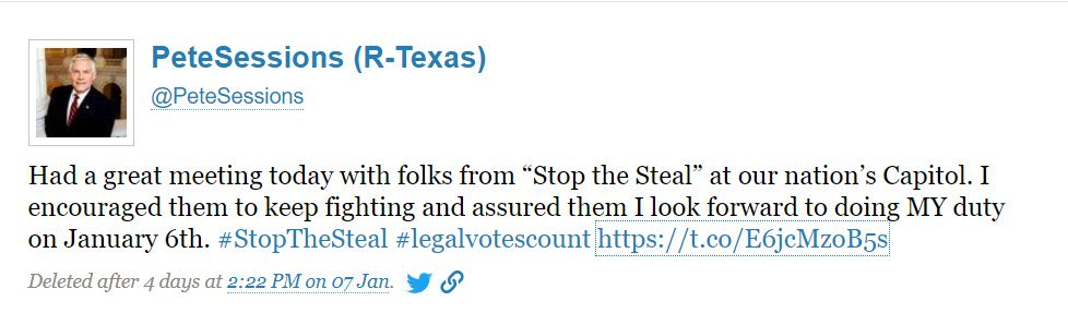 Pete Session R Congressman from TX wants to keep his meeting with #StopTheSteal gang. So he deleted the tweet below. Let's help him keep it secret. #CapitolRiots #CapitolBuilding #Insurrection