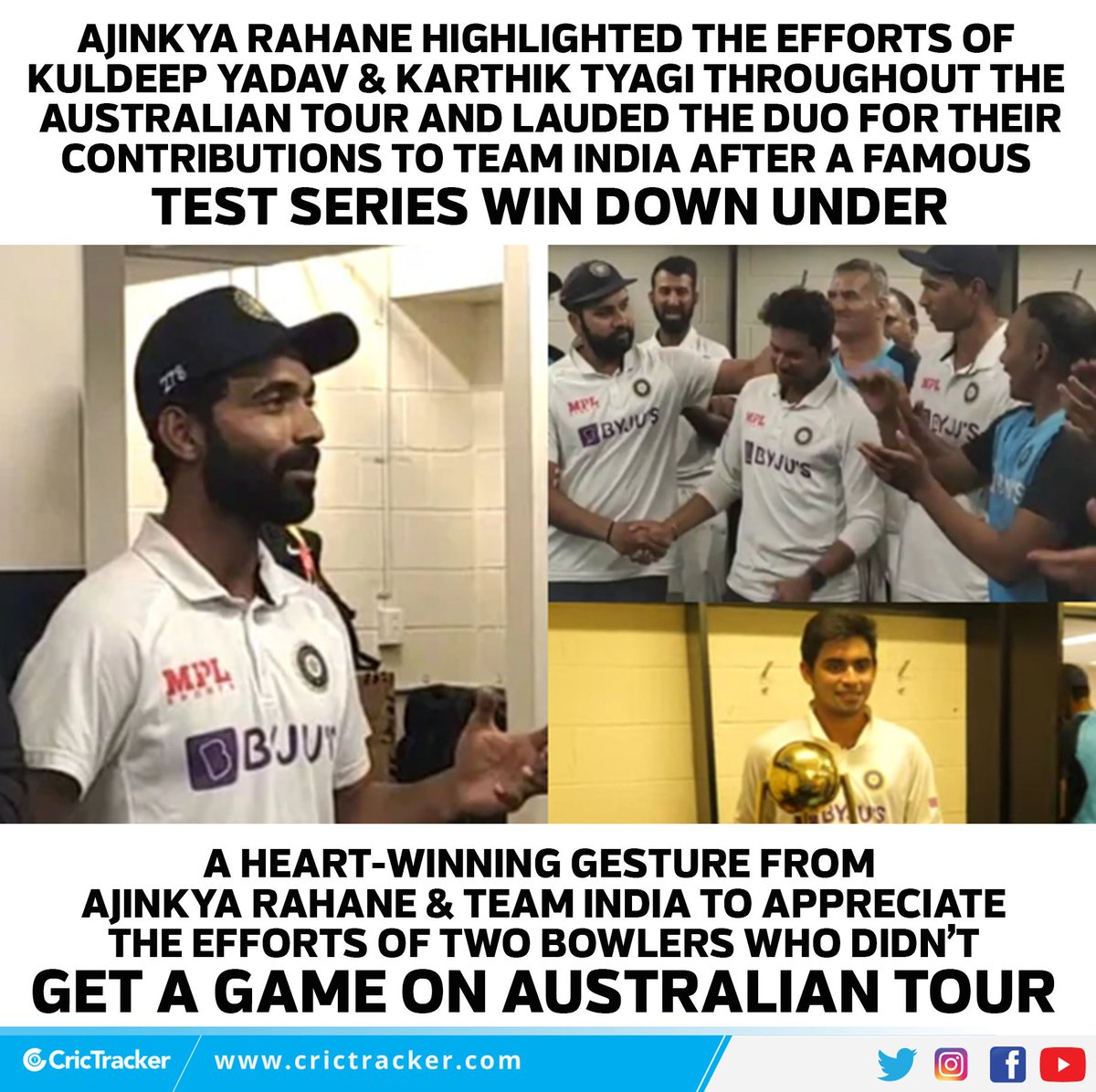 A top-class gesture from Team India. ❤❤  #India #KuldeepYadav #AjinkyaRahane #Cricket #AUSvsIND #CricTracker