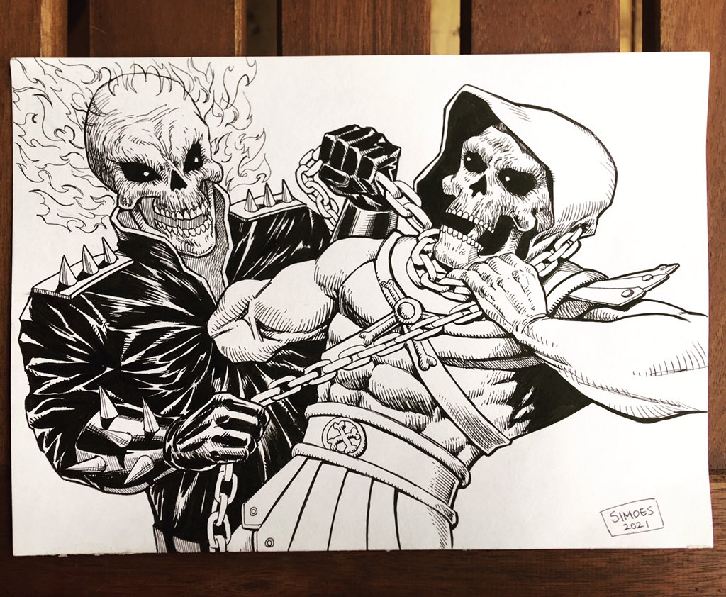 #ghostrider vs #skeletor  Ink on paper  #marvelcomics #mastersoftheuniverse #drawing #inking #illustration #artistontwittter #portfolio #pinupart #coverart #イラスト#線画イラスト #アメコミ