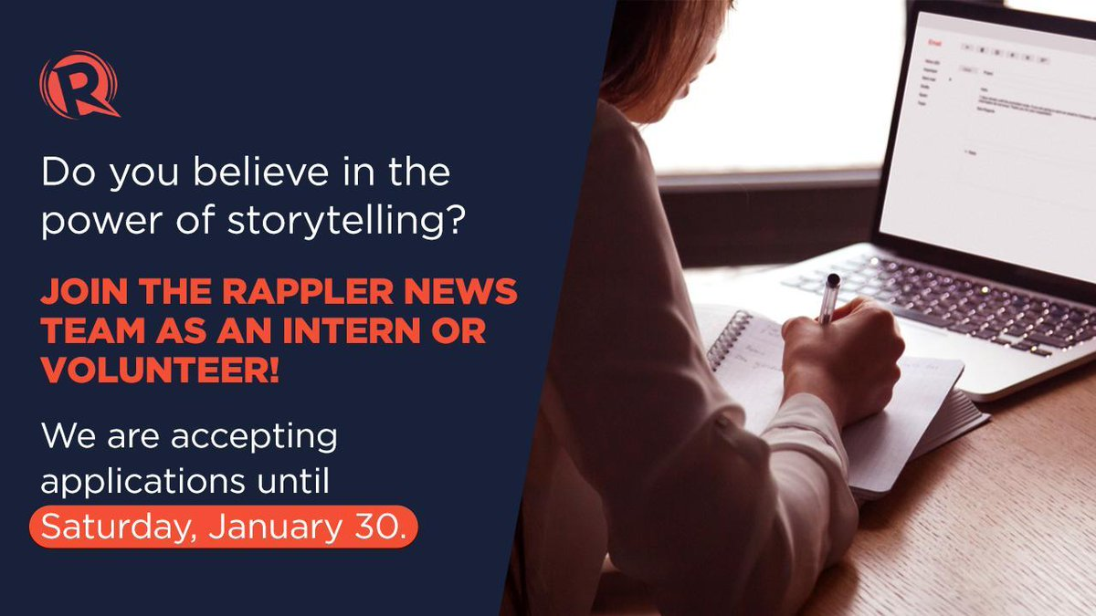 Got the guts to tell powerful stories? As a Rappler intern, you will be able to assist reporters, research what matters, and write stories that help people create informed perspectives. READ:rappler.com/moveph/rappler…