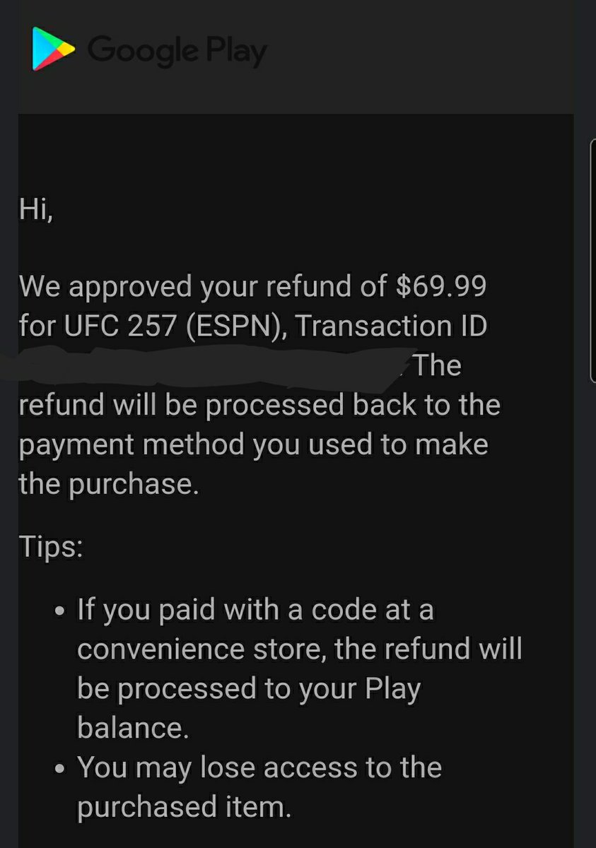 Thanks for all the help (specially @bigbluetexas1) but I wasn't able to see the fight. I was at least able to get a #Refund #ufc257 @ESPNPlusHelp @danawhite