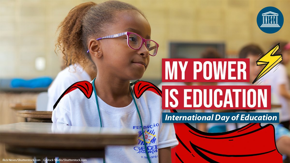 What will the #FuturesOfEducation look like? #COVID19 has deepened inequalities & could reverse decades of progress in education.  We must #PowerEducation ⚡ by ensuring inclusion, equity & gender equality!  Find out more from @UNESCO this #EducationDay 👉🏾
