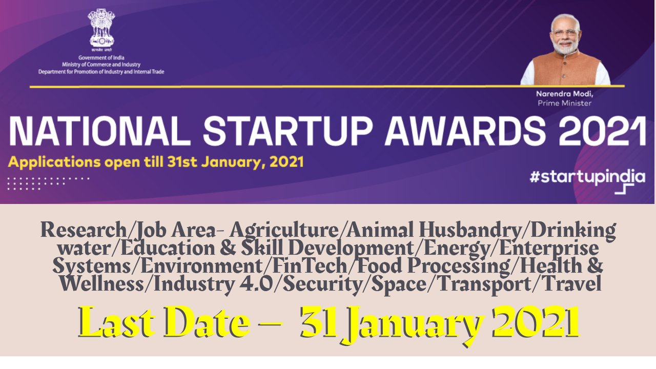 National Startup Awards 2021: Apply by 31 January 2021 | Cash Prizes Worth 5 to 15 Lakhs