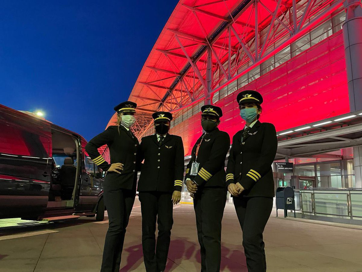 The nation applauded the all-woman crew of Capt Zoya Aggarwal, Capt Papagari Thanmai, Capt Akansha Sonaware & Capt Shivani, who made history by flying over the north pole on the longest @airindiain flight from San Francisco to Bengaluru.   #DeshKiBeti