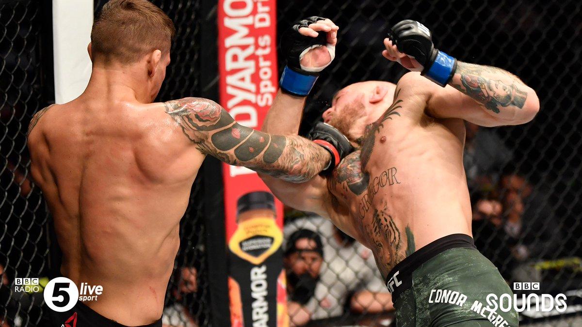 Dustin Poirier hands Conor McGregor his first ever KO defeat in the UFC. 🤯💎  📲 Listen to live reaction of Poirier ⓥ McGregor 2 on the free @BBCSounds app:   #UFC257 #UFCFightIsland