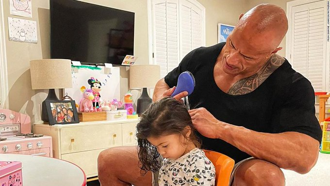 Dwayne Johnson shows off his hair skills in an adorable post with his 2-year-old daughter Photo