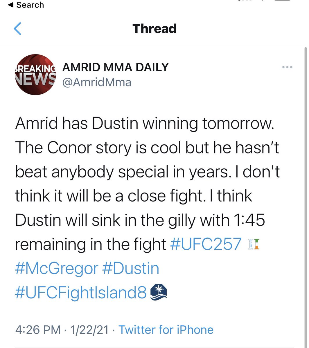 Amrid gets it right again.  We are undefeated in predictions.  Follow us for more mma news and predictions.  #UFC257 #mma #MMATwitter #McGregorPoirier #McGregorPoirier2 #UFCFightIsland