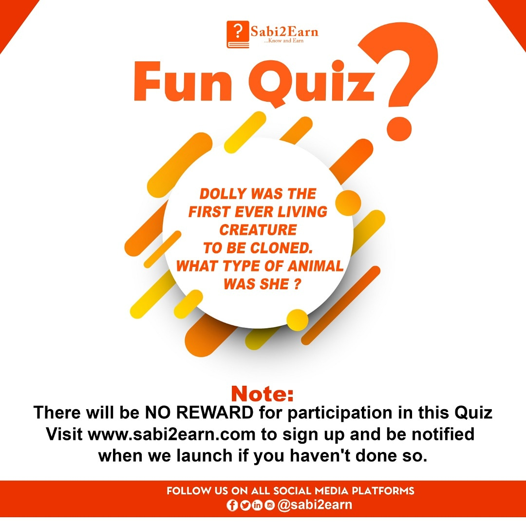 Sabi2Earn fun quiz. 🔥🔥🔥🔥🔥🔥 Time to unveil the genius in you.  . Note- there is no reward for this quiz.  . Visit  and sign up if you have not done so. #sabi2earn #quiz #ContestAlert #remotelearning #AMA #competition #FunFact #follobackforfolloback
