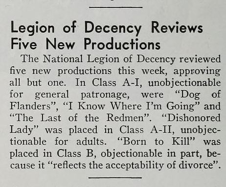 The National Legion Of Decency rated #BornToKill Class B: (morally) objectionable in part - not for violence, but for the 'acceptability' of divorce. 1947 #TCMParty