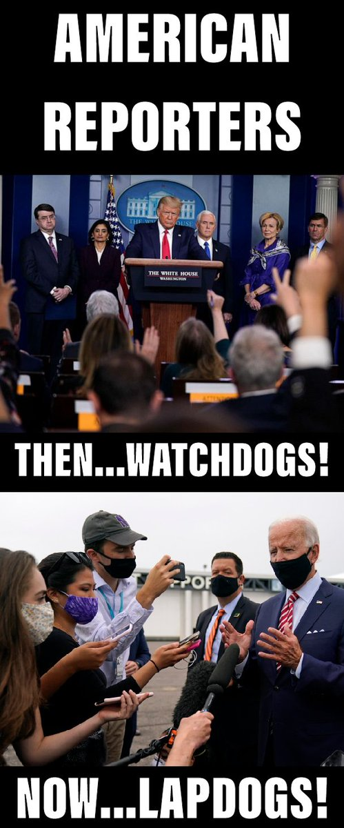 During the Trump Administration, the media were watchdogs. Under Biden, they have become lapdogs.  #MSM #DonaldTrump #JoeBiden #PressCorp