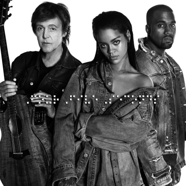 "6 years ago today, @Rihanna, @PaulMcCartney & @KanyeWest dropped ""FourFiveSeconds.""  The trio made their debut performance of the folk-pop track at the 57th annual Grammy Awards. It peaked at #4 on the Hot 100 and is certified 3x PLATINUM in the US."