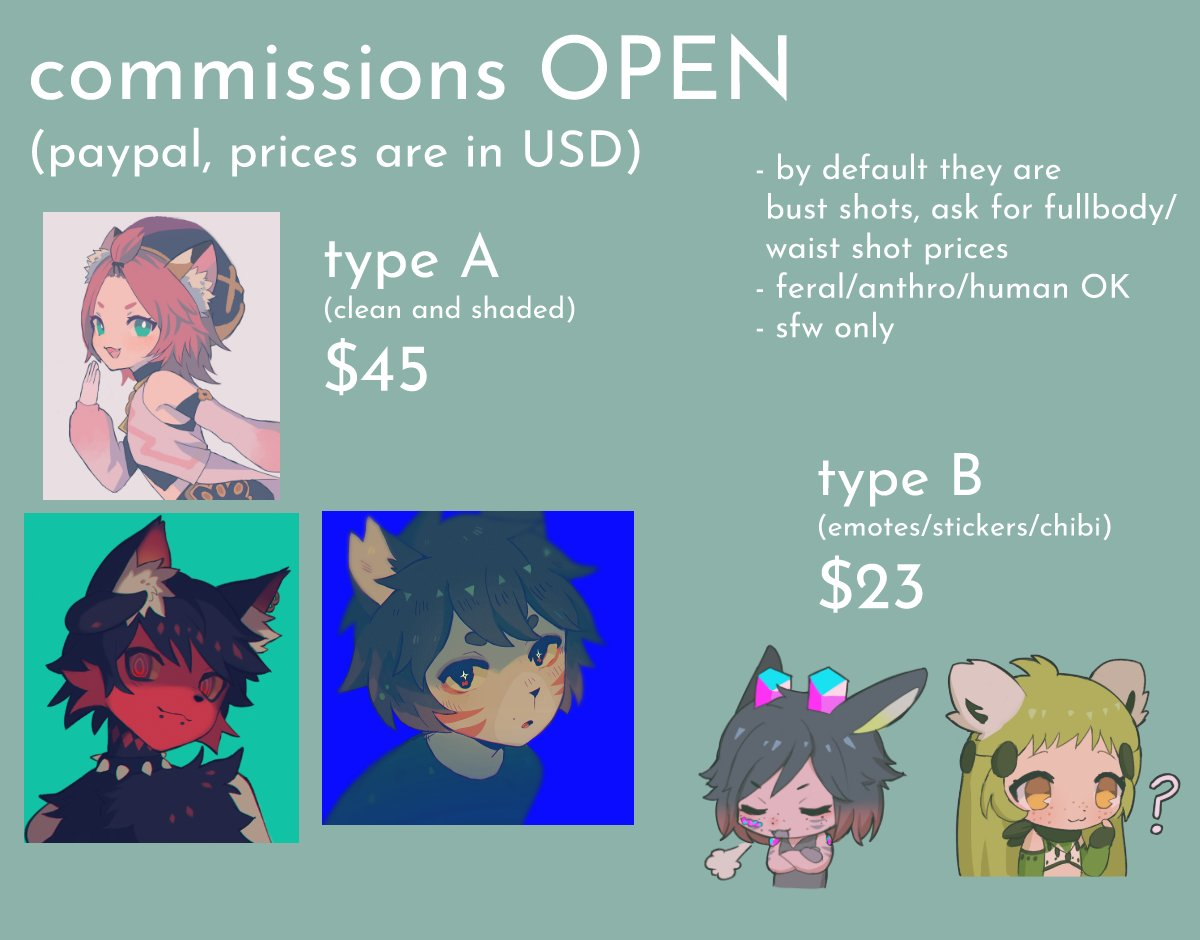 i'm in bad need of money rn so my commissions are open, please DM if you are interested reshares are really appreciated ^^