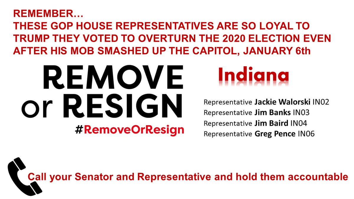 #Indiana hold them accountable!  @RepWalorski  @RepJimBanks  @RepJimBaird  @RepGregPence   #ResignOrRemove
