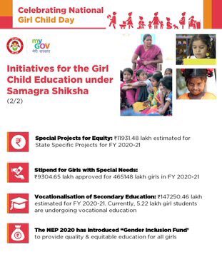 Giving wings to the dreams of each #DeshKiBeti a historic Samagra Shiksha Scheme has been launched by @EduMinOfIndia   Among other spectacular initiatives under the scheme, Rs 1,47,250 lakh is estimated to be spent on vocational eduction which will benefit 5.22 lakh girl students