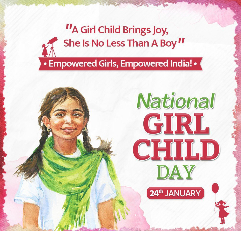 Today's children are the leaders of tomorrow. Let us work towards building a brighter and better future for our daughters by smashing the gender stereotypes and celebrating their accomplishments. Empowered girls will lead us to an empowered future.  #NationalGirlChildDay.