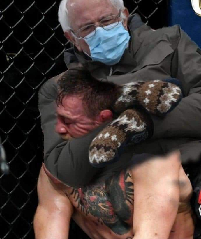 """Good Gawd Bernie with the run in and attack on @TheNotoriousMMA! What a heinous attack!"" #UFC257 #UFC #UFCFightIsland #ufcstream"