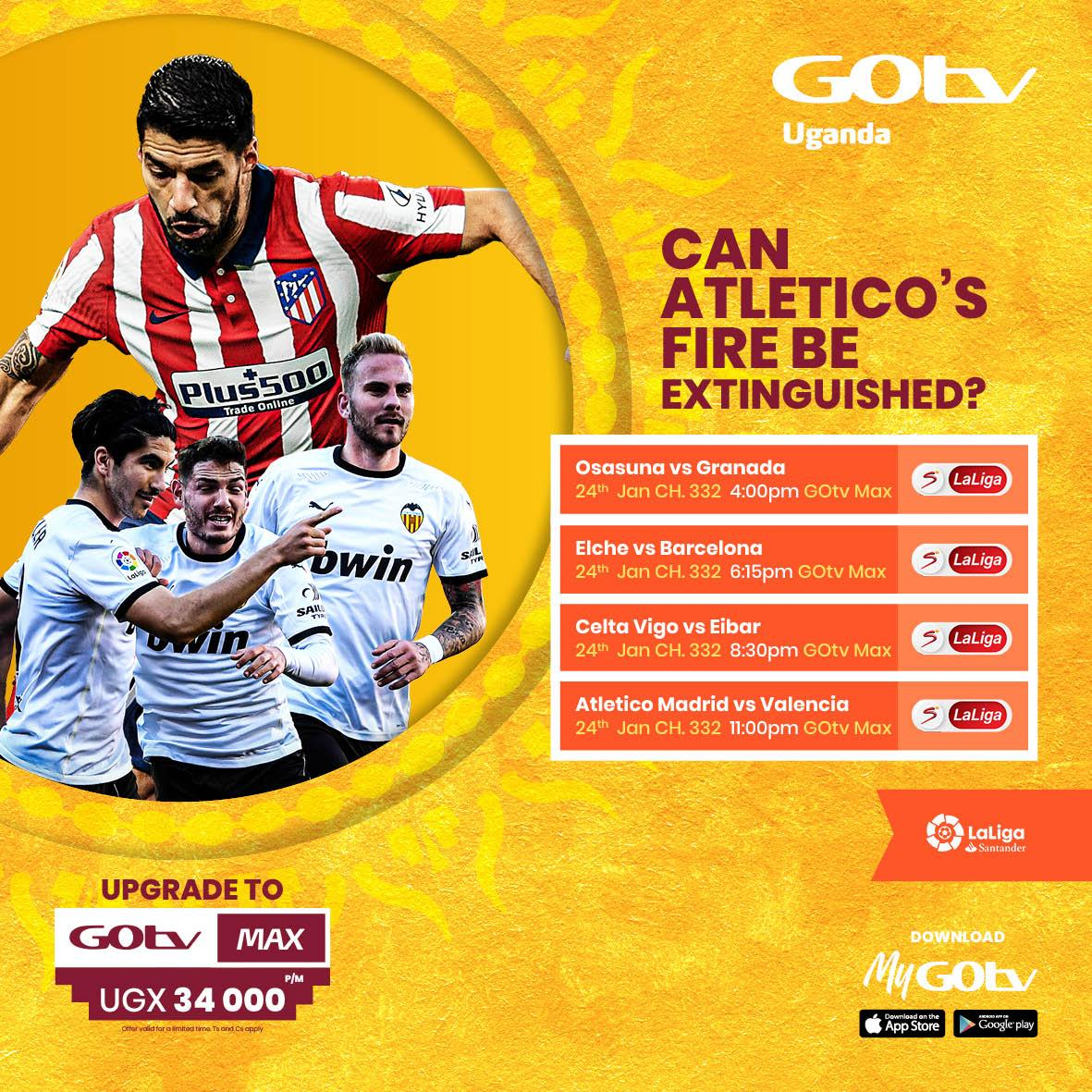 Enjoy La Liga action on Select La Liga 332. Upgrade to GOtv Max and enjoy Osasuna Vs Granada at 4:00PM, Elche Vs Barcelona at 6:15PM, Celta Vigo Vs Eiber at 8:30PM and Atletico Madrid Vs Valencia at 11:00PM.  #FootballWorthWatching https://t.co/dPfcjwmCao