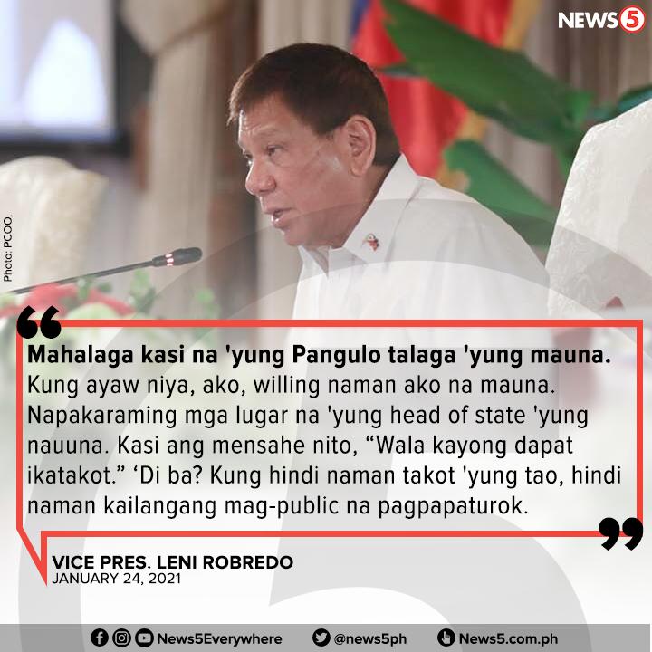 Malaking bagay na isapubliko ang #COVID19 vaccination ni Pres. Rodrigo Duterte para tumaas ang kumpiyansa ng sambayanan na magpabakuna, ayon kay Vice Pres. Leni Robredo.