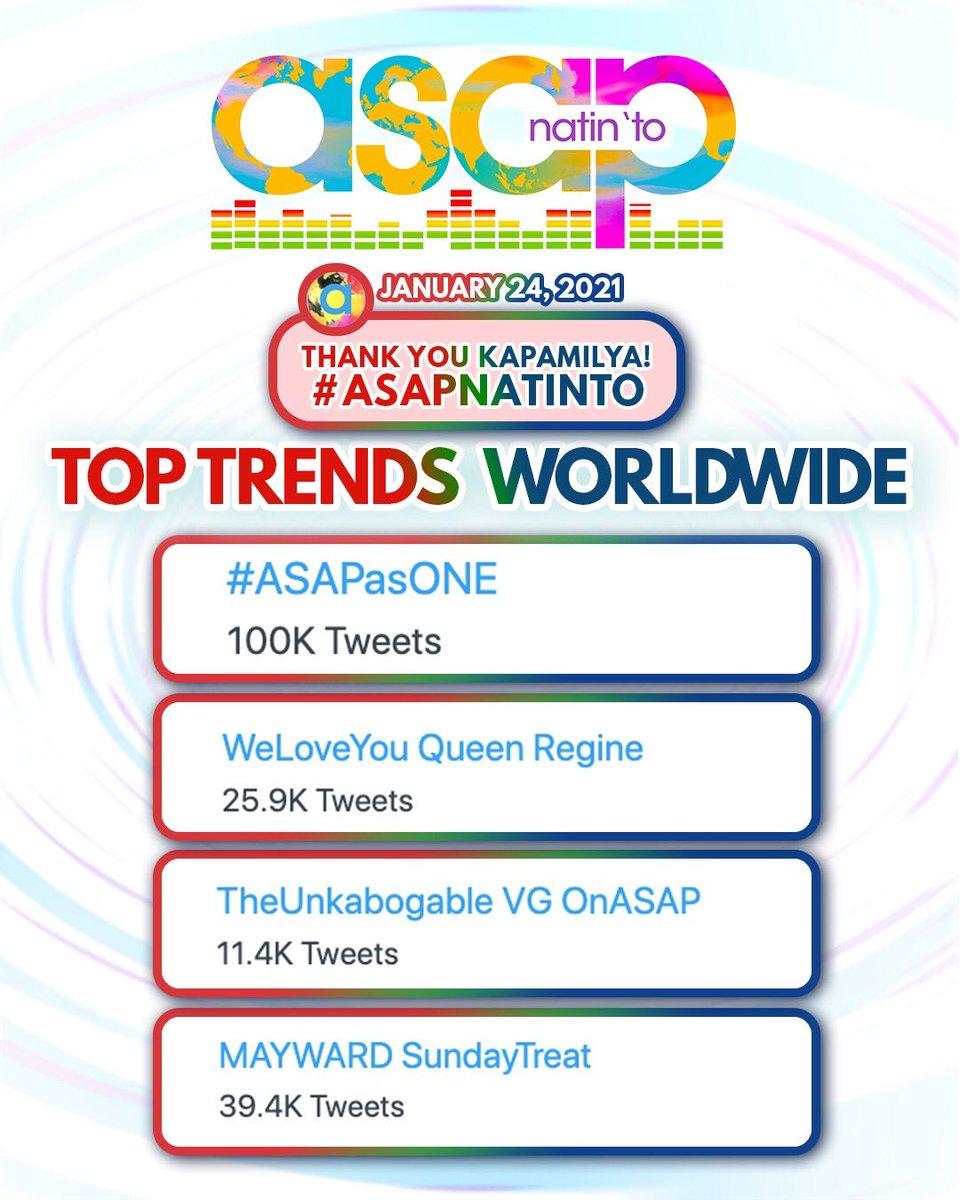 Thank you for making us trend WORLDWIDE! Magkita-kita tayo ulit next week dito lang sa ASAP Natin 'To!   #ASAPasONE