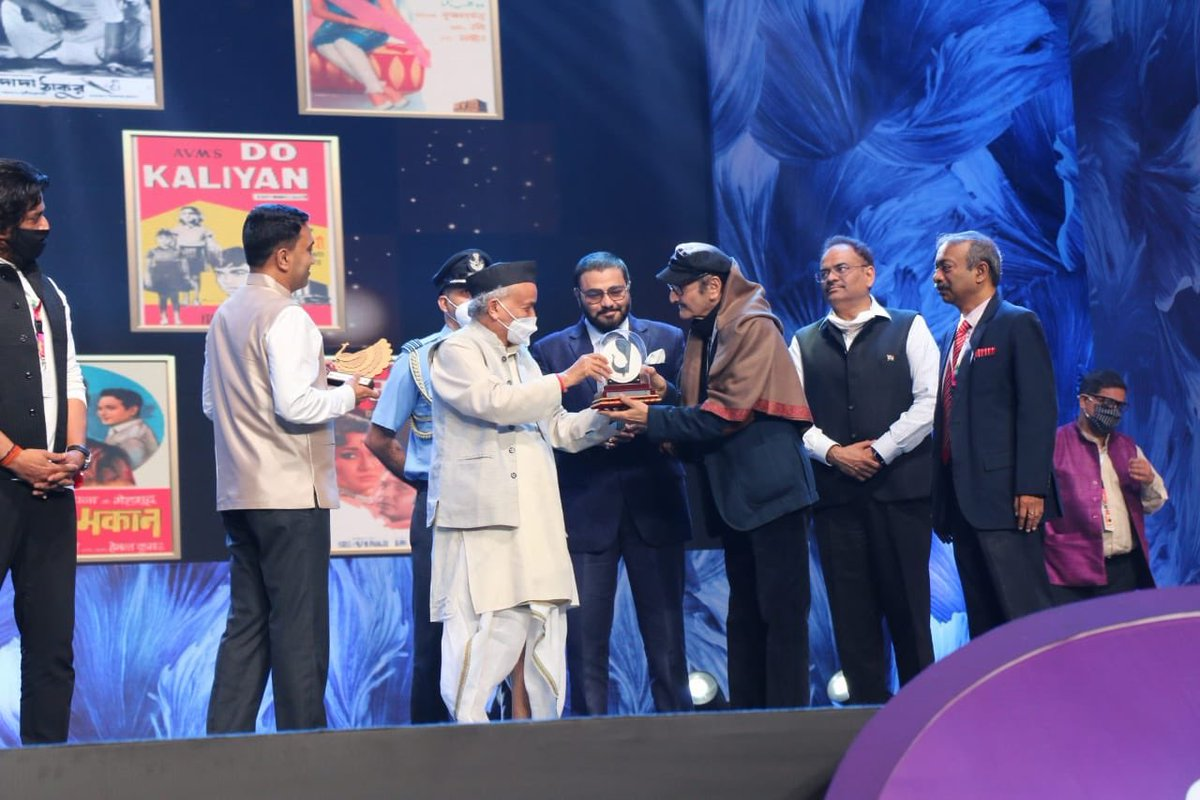 "Legendary Actor Shri Biswajit Chatterjee was Felicitated as ""Indian Personality at The Year"" At The Closing Ceremony of #IFFI51.  @satija_amit @Chatty111Prasad @PIB_India @MIB_India"