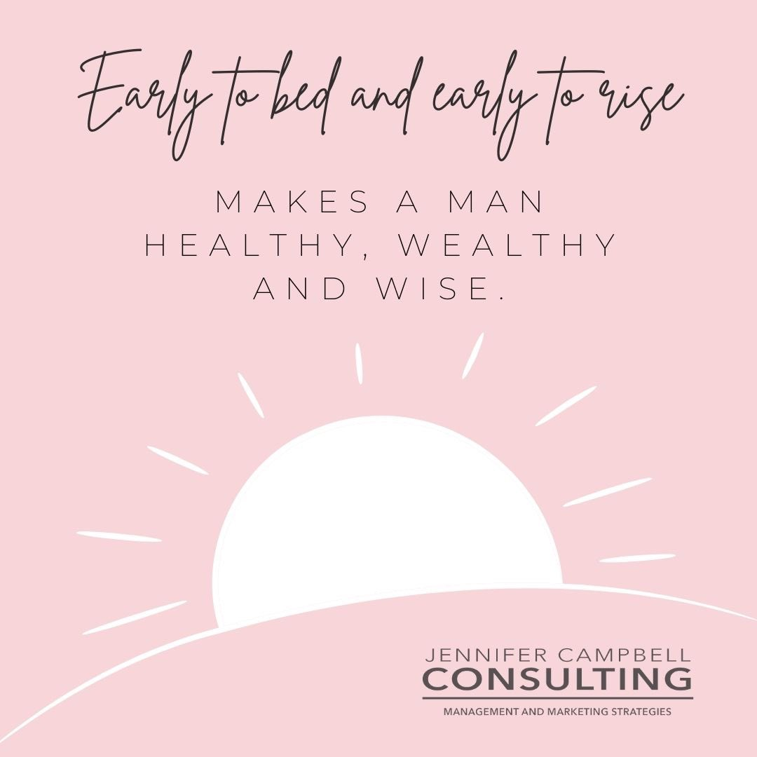 Waking up early is hard; here are some tips to make it a little easier:  Go to bed early.  Check out the rest at the_jenn_campbell on Instagram.   #earlytorise #earlybird #getstheworm #smallbusiness #entrepreneur #womanboss #opportunity #hustle #smallbiz