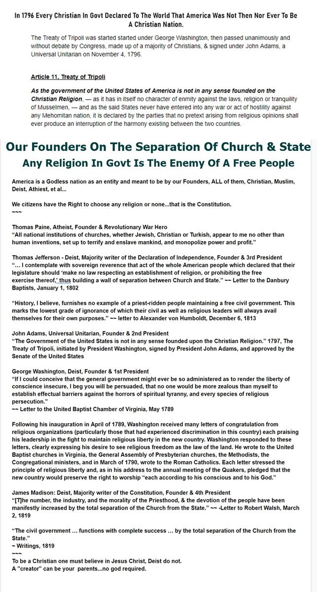 @FoxNews 100 Years of America history proves the Christian Religion a fraud   Christianity is America's most influential domestic enemy  Can be fact-checked as you read:   Graphics: Founders & 1st Amendment on Separation  #SundayFunday #sundayvibes #SundayMorning