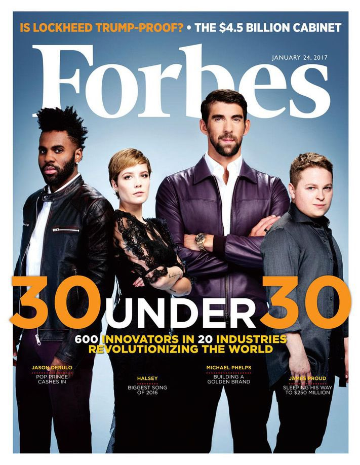 January 24 2017, @halsey featured on the cover of Forbes for their 30 under 30 alongside @jasonderulo , @MichaelPhelps and James Proud.