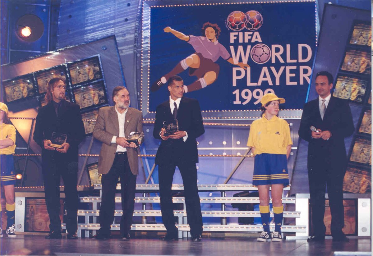 """🗣️ """"He's a magnificent player. He makes people want to watch football matches, he gets you on the edge of your seat,"""" said the legendary George Best  🔙 #OnThisDay in 2000 Rivaldo beat David Beckham and Gabriel Batistuta to the FIFA World Player of the Year award 🏆"""
