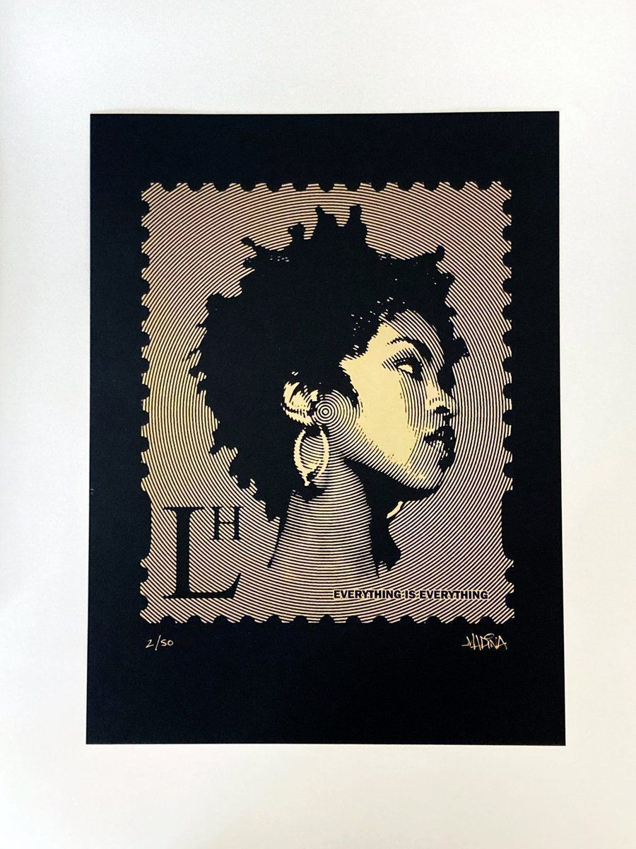 """Lauryn Hill 'LH' #HipHop Stamp Limited Edition (1/50) Screen Print 30cm x 40cm  """"Most of my heroes don't appear on no stamps""""  Screen printed gold ink on high quality Gmund Bauhaus Schwarz 250gsm black paper"""