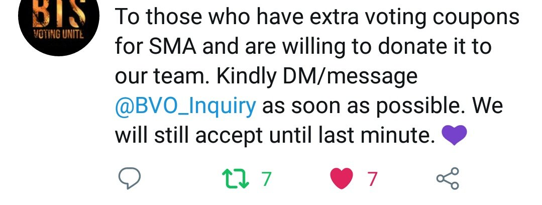 @btsvotingunite @BVO_Inquiry Wish my 7th RT & 7th liked is a good sign 🙏 Good luck en keep voting ARMY 💜 BTSARMY 7OTE ON SMA #ARMY_ALLIN_SMAin @BTS_twt