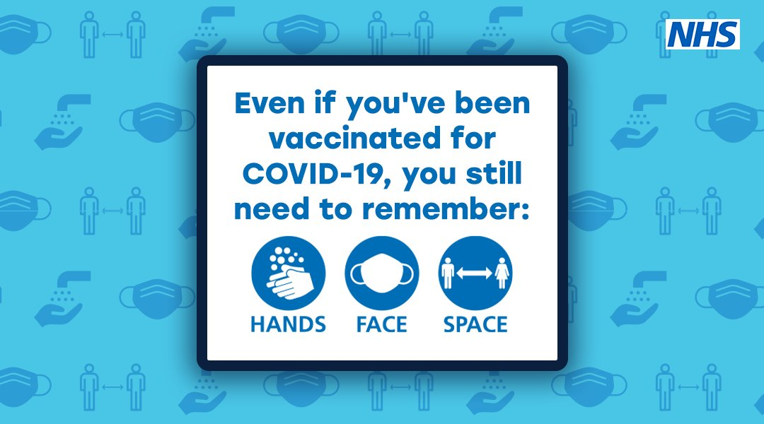 Even after youve had the #CovidVaccine its important you still follow the rules in place to help reduce the spread of the virus. Remember, #HandsFaceSpace - Wash your hands regularly - Cover your face - Keep a safe distance
