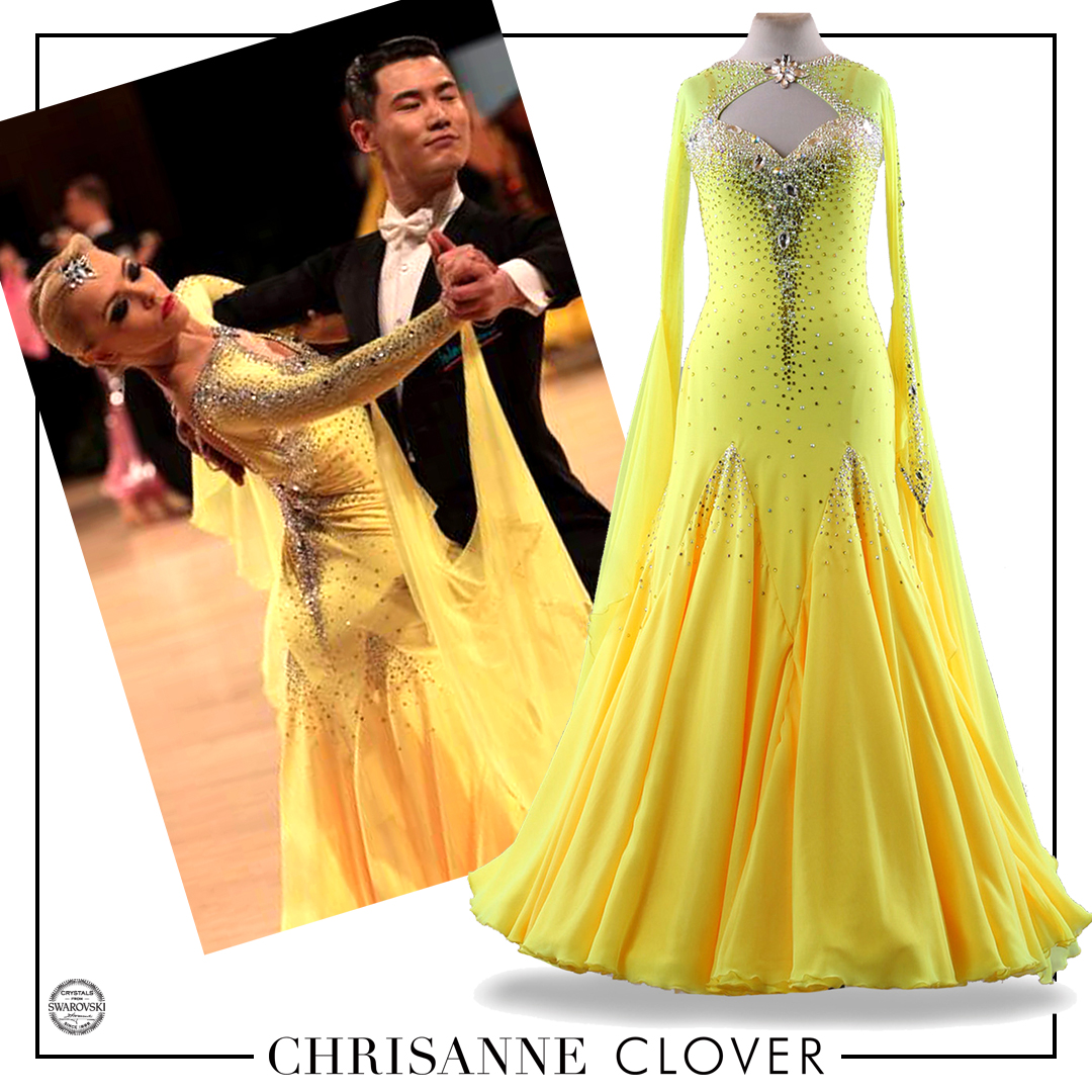 #Throwback to the #UKOpen 2019 when Liis looked stunning in her Sassy #Yellow #Ballroom #dress BDD475NN beautifully embellished with #Swarovski® crystals.
