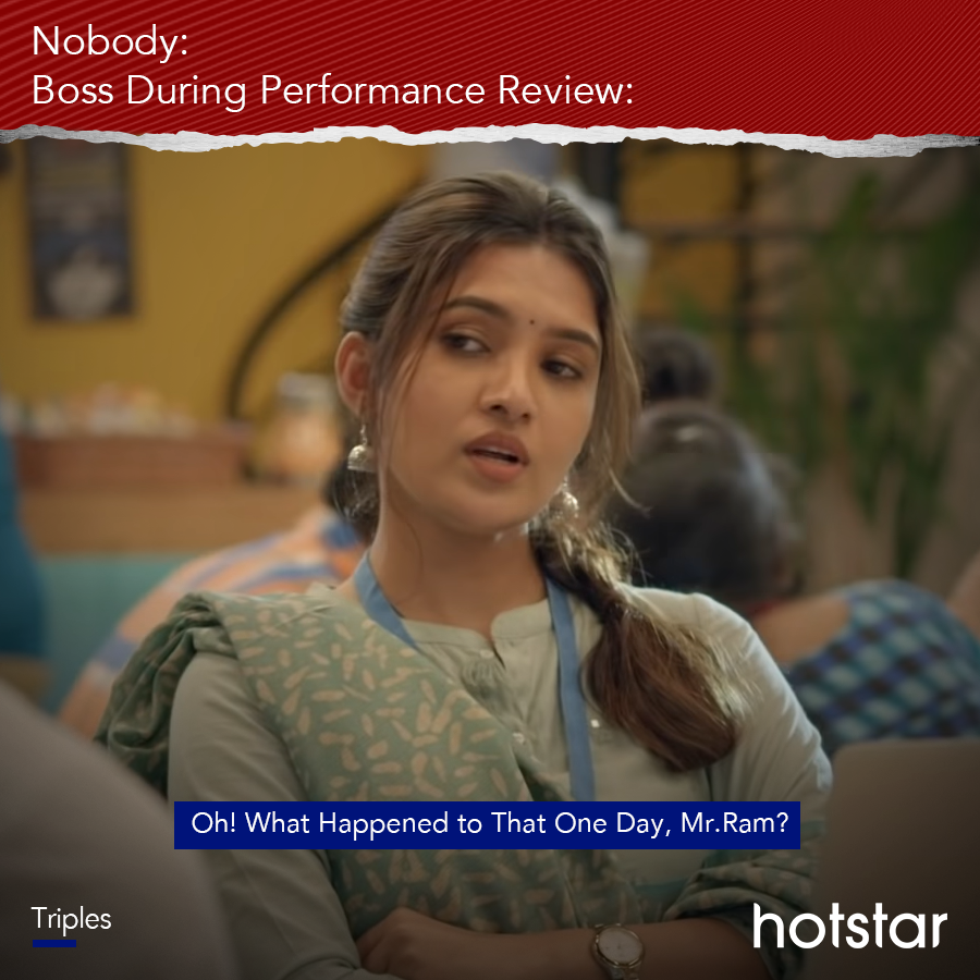 Vacation ka, holidays ka, sabka badla hoga, performance review mein! ​ ​ #Triples #TriplesTheFun   @Actor_Jai @vanibhojanoffl @actorvivekpra @rajNKPK