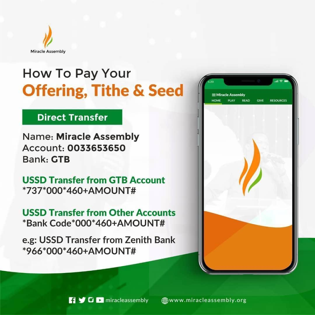 It's time to Give our TITHE & Offering to the Lord. Online Viewers can give via DIRECT BANK Transfer TO MIRACLE ASSEMBLY |  GTB  |  0033653650 @jeffiyonawan #miracleassembly #qualityliving #influence #elevation #thanksgiving