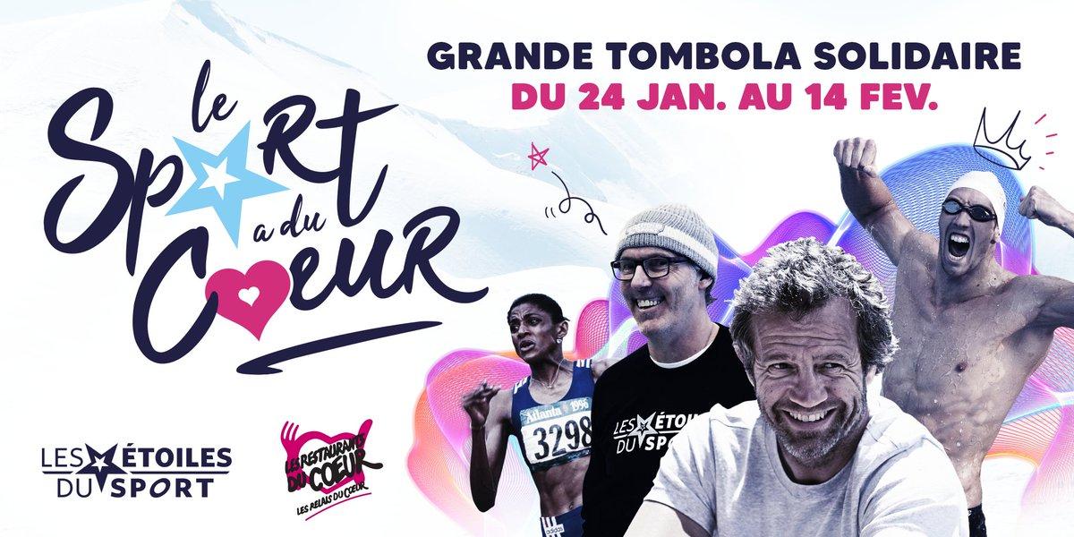 Les Étoiles du Sport rassemblent les champions français pour soutenir @restosducoeur à travers une tombola exceptionnelle ! 1200 t-shirts #Lesportaducoeur + des rencontres exclusives avec les athlètes. 5€ le ticket.