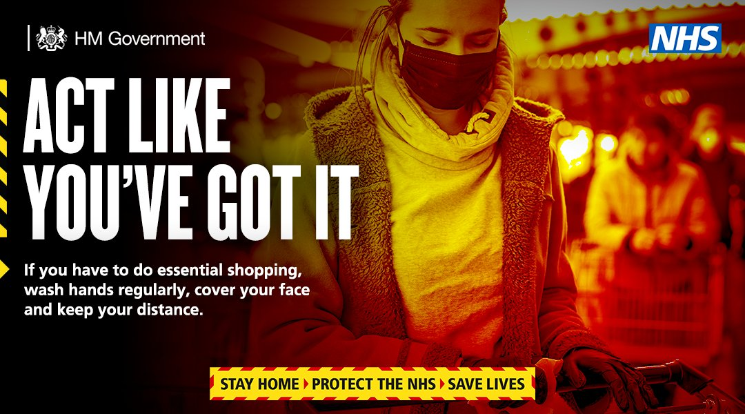 Protect yourself and your community from the virus if you're shopping for essentials this weekend.  🧼 Wash your hands 😷 Wear a face covering ↔️ Keep your distance from people you don't live with  ➡️