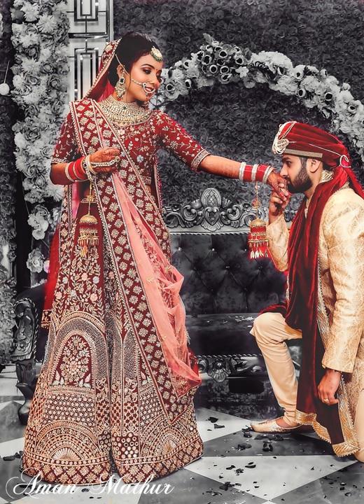 AMAN MATHUR BRIDES Zardosi & dabka embroidered bridal lehenga with peach dupatta   POWERTODESIGN #amanmathur #fashiondesigner #bridalwear #amanmathurbrides  #velvetsaree #doli #gharara #zardosi #jaalwork #chikankari #indianwedding #wedding #weddingdress