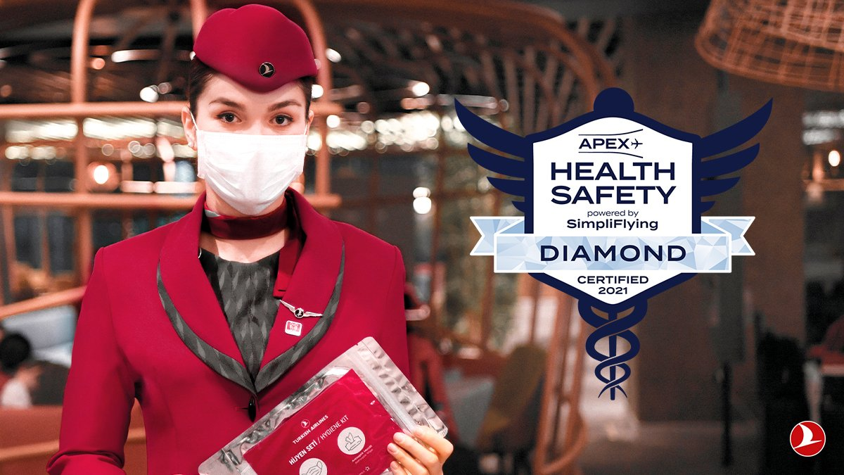 """Turkish Airlines achieved the highest """"Diamond"""" status in the health and safety review conducted by APEX and  #SimpliFlying   #TurkishAirlines"""