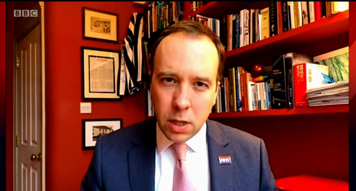 Every time Matt Hancock is interviewed from his blood-soaked office we seem to see it from a new angle, suggesting he may reside in some kind of non-Euclidean pocket dimension. #Marr