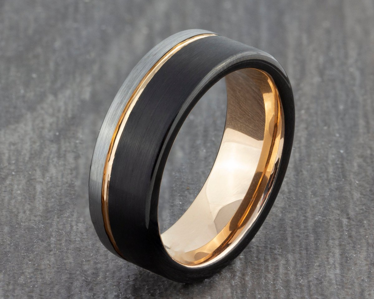 Excited to share the latest addition to my #etsy shop: 6mm Black Silver Tungsten Ring with Rose Gold Groove - Mens Ring - Men's Wedding Ring - New Wedding Band - Womens Engagement Flat Court Ring  #black #wedding #no #silver #women #tungsten #