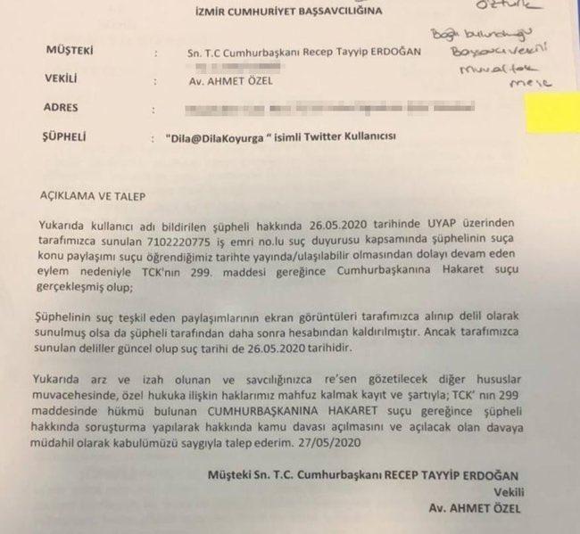 Cumhurbaşkanı Erdoğan'ın avukatı Ahmet Özel'in TCK 125 maddesi kapsamında ilk dilekçeye ek olarak TCK 299 maddesi kapsamında Cumhurbaşkanına hakaret suçunu işlediği gerekçesiyle İzmir Cumhuriyet Başsavcılığı'na şikayette bulunulduğu öğrenildi @DilaKoyurga https://t.co/tJyieofpcc https://t.co/0GkeOw5WH0