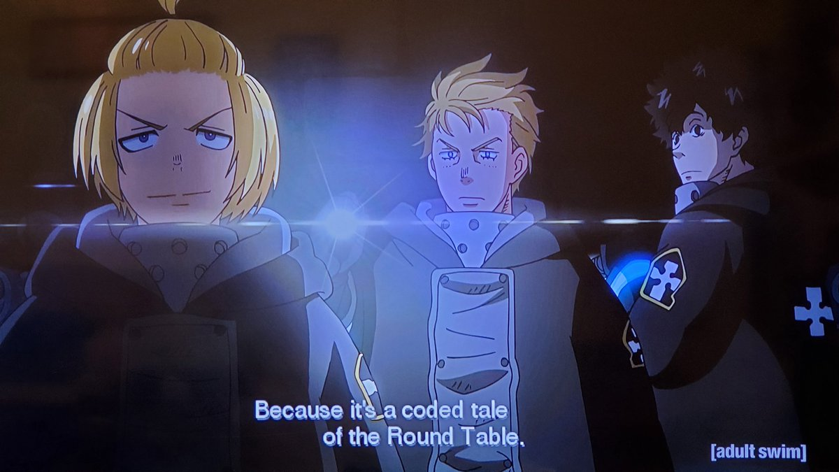 .@ericvale Will Arthur decode the stone tablets with numbers based on pi before he and the gang gain entrance to the core from the sound of a heartbeat?💓😱We're on episode 34 on #Toonami next week #FireForce 🔥🚒