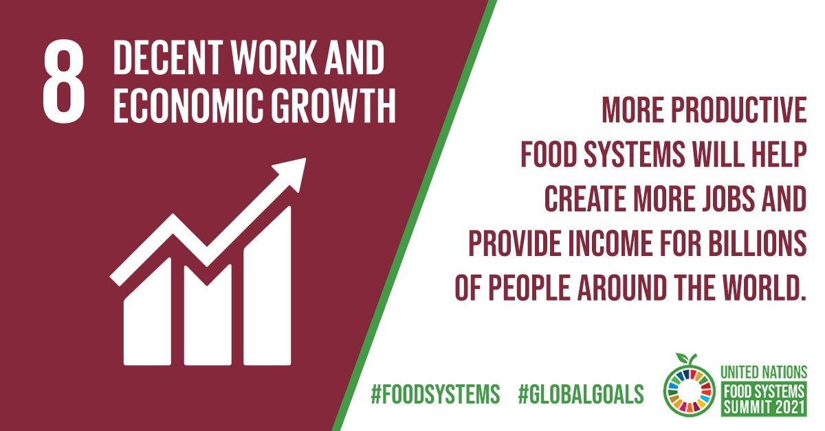 #DYK Agriculture provides livelihoods for 40% of the world's population? 👩🌾   More productive #FoodSystems will help achieve #SDG8 - decent work and economic growth - by creating jobs and supporting the incomes of billions of people.  #GlobalGoals