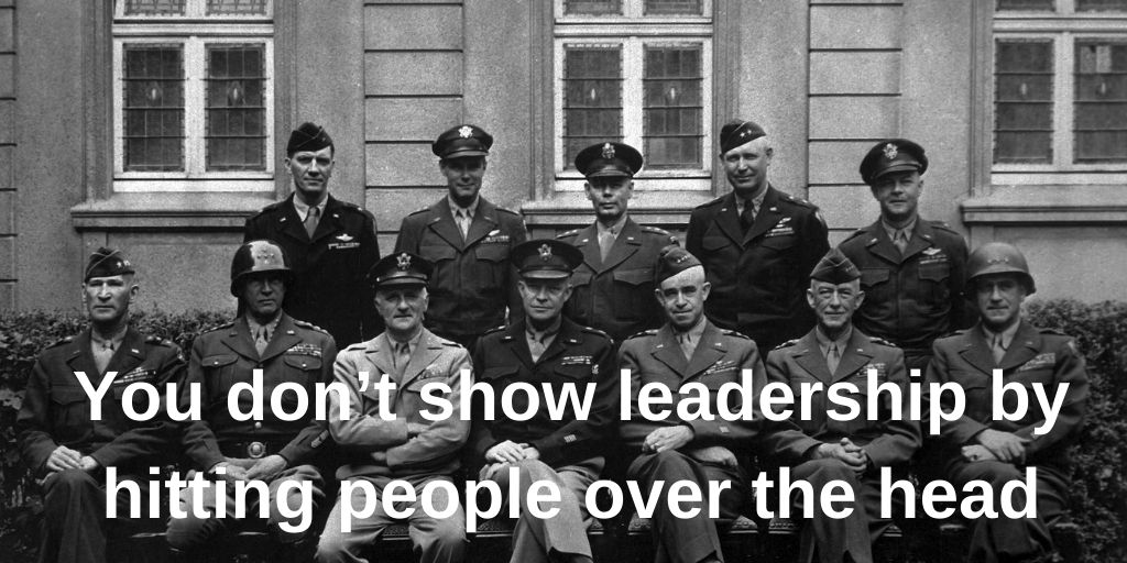 """""""You don't lead by hitting people over the head – that's assault not leadership"""".   Project Managers need to show leadership, not aggression.    #projectmanagement #PMOT #COVID #remotework #leadership #LeadershipMatters"""