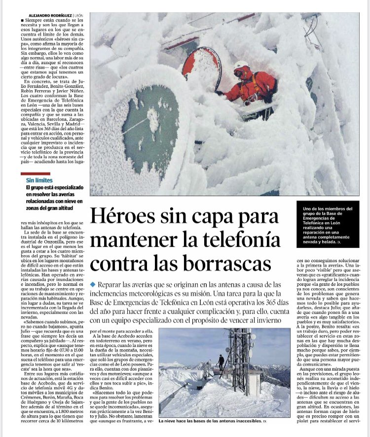 Merecido homenaje en @diariodeleon a los héroes sin capa de @telefonica Son nuestros compañeros de la Base de Emergencias de #León  Las fotos hablan por sí mismas. Poco que añadir. Gracias ❤️💪 #SomosTelefonica @movistar
