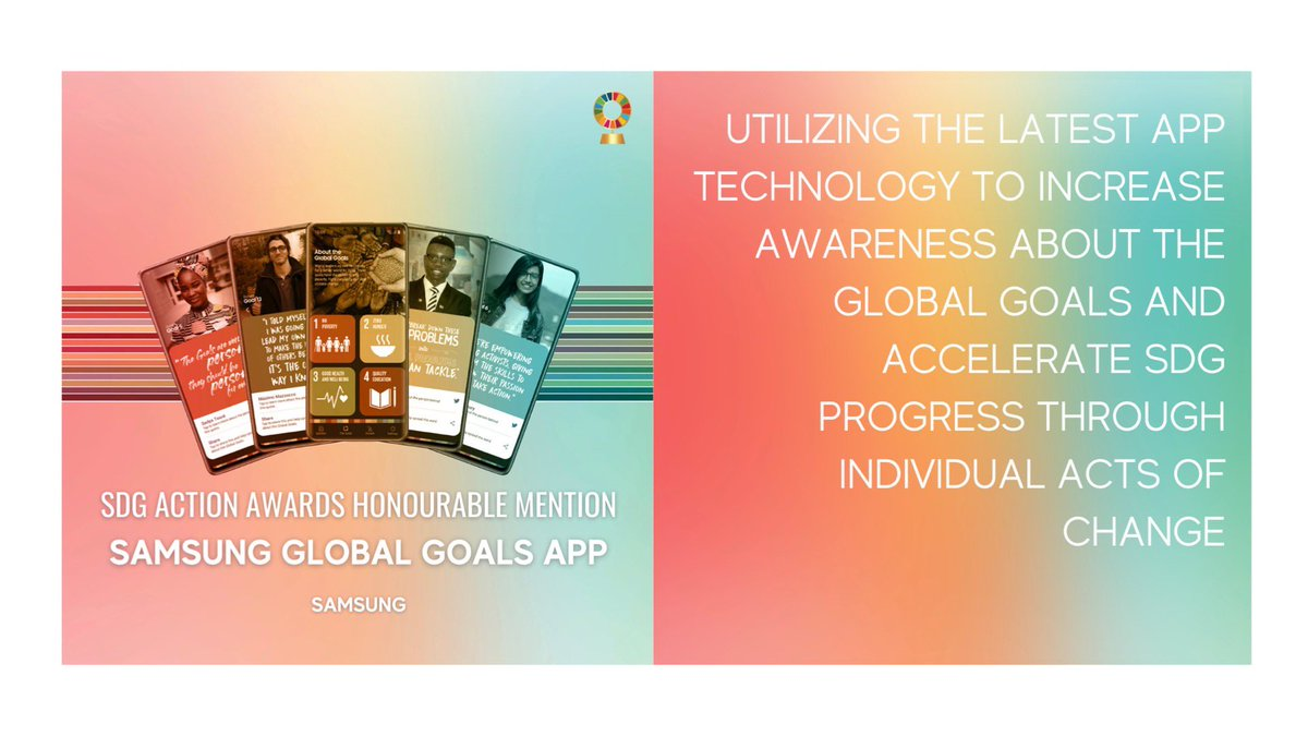 @SamsungMobile's Global Goals app📱 highlights how simple actions can build a more sustainable future for all. The app is now on 80M+ Galaxy smartphones worldwide!  #SDGawards #TurnItAround #ACT4SDGs