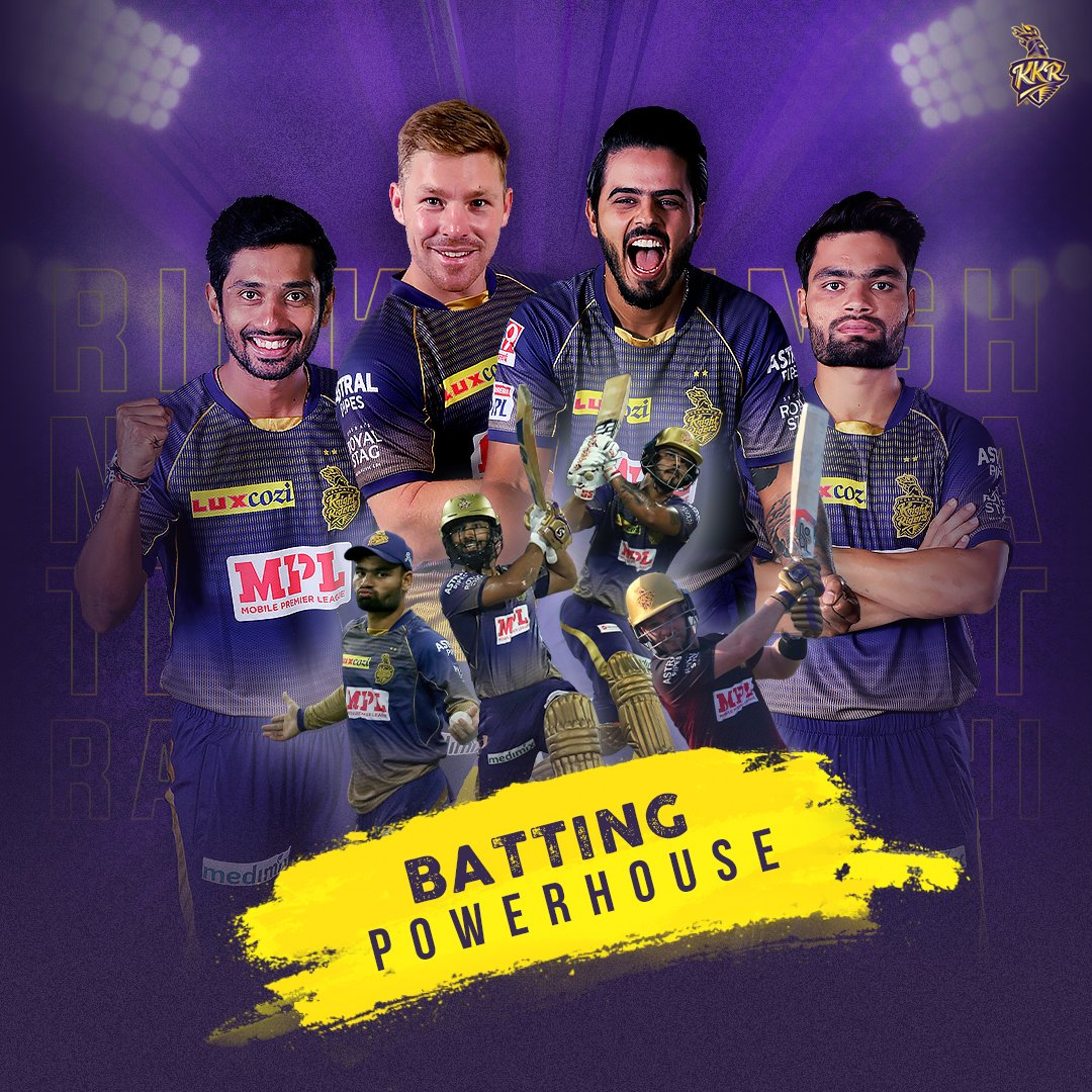 (10/17) + (11/17) + (12/17) + (13/17) #KKR Retentions:   With a line-up like this, there will be 🎆 guaranteed!  Which one of these specialist batsmen are you looking forward to watching in #IPL2021? 🤔  #KKRHaiTaiyaar #Cricket #IPLretention #IPLAuction
