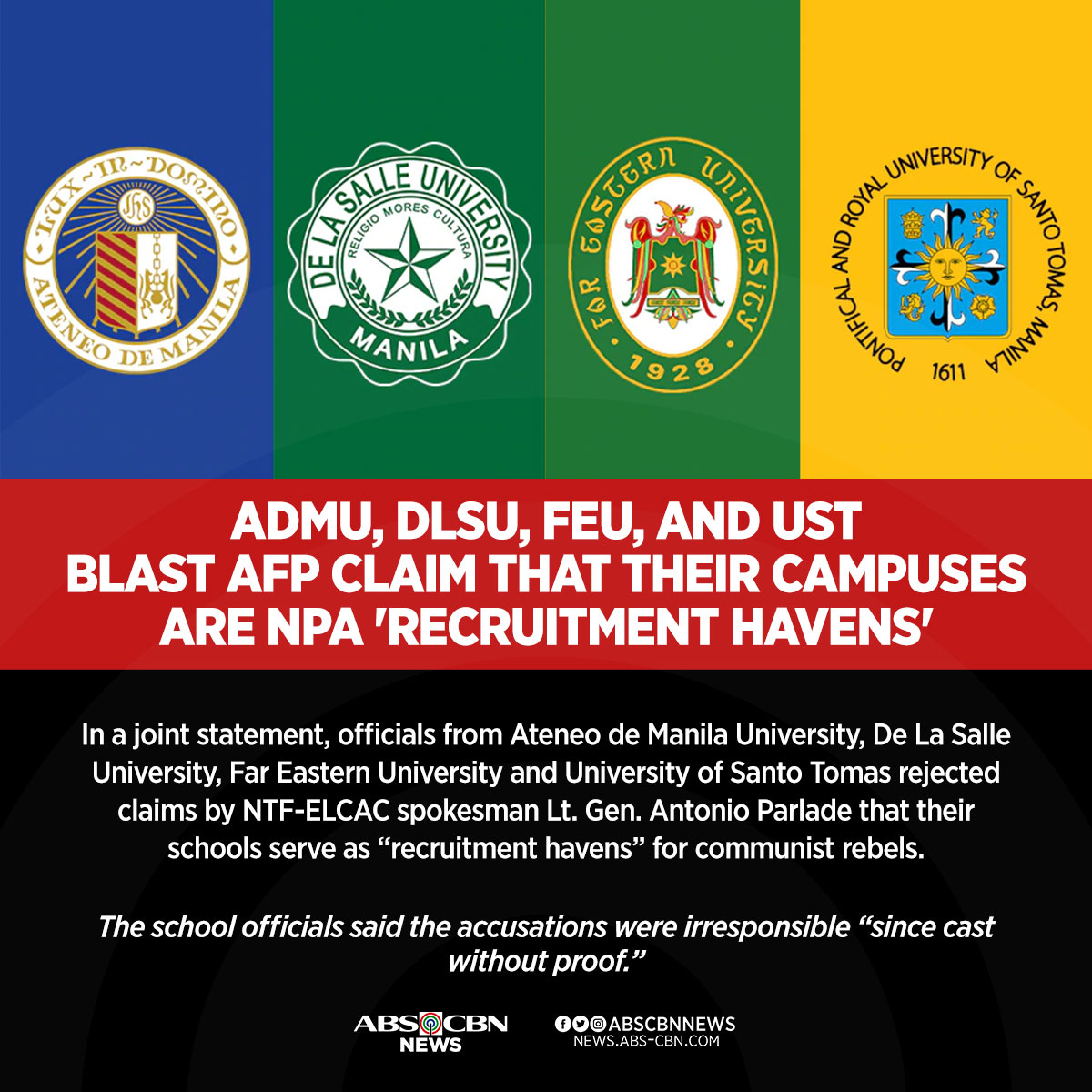 """Several top Philippine universities blasted claims by a high ranking military official that their schools allegedly serve as """"recruitment havens"""" for communist rebels. READ: bit.ly/3636KpN"""
