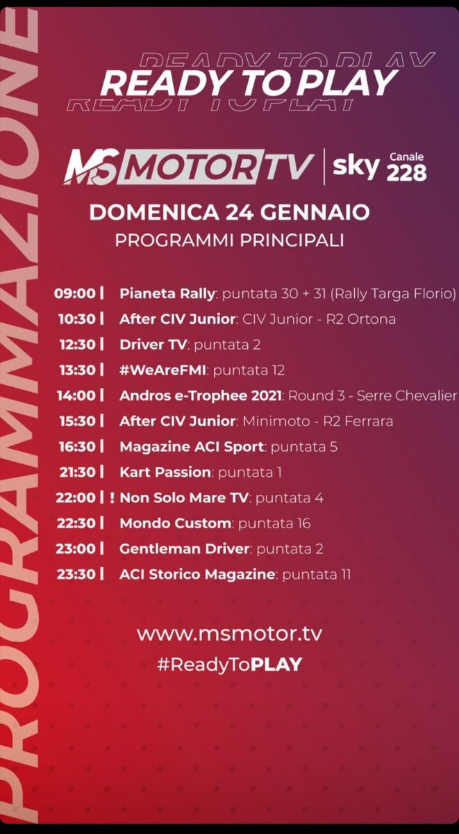 Alle 14:00 il @TropheeAndros_ su #MSMotorTV al canale 228 di @SkyItalia #skymotori #topface2021 #Lockdown3