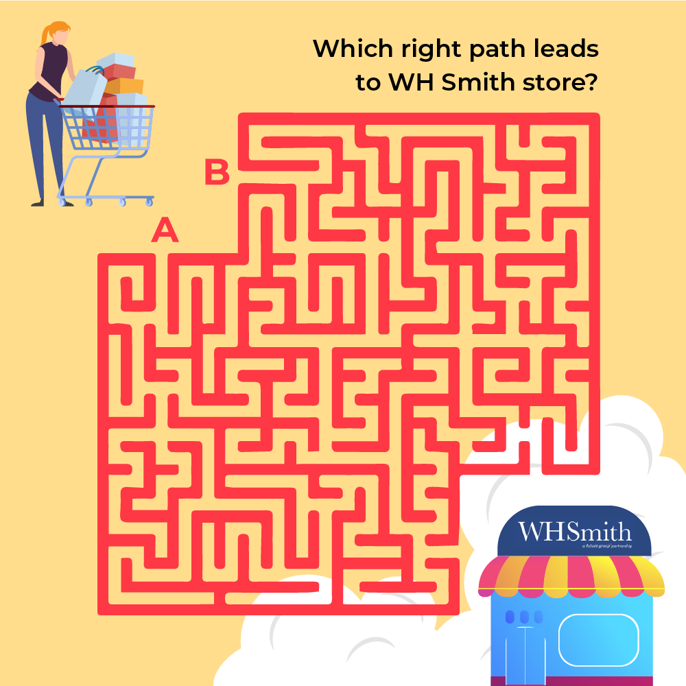 Can you find the right path to reach the WH Smith store? If yes then comment the right path in the comments section below. #WHSmithIndia #WHSmith #SundayFunday #Puzzle #FunGame #Fun #Childhood #Contest #FunTime #Food #ConvenienceInYourCart